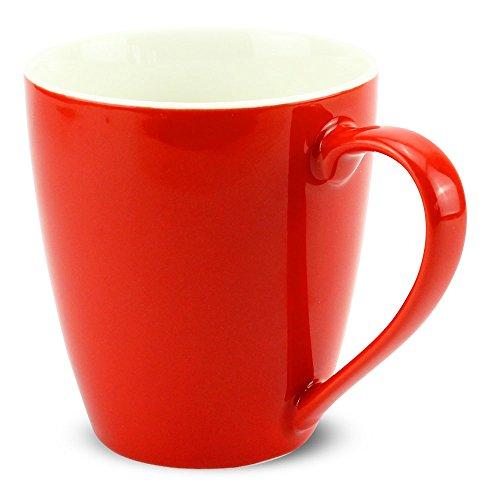 matches21 Tasse Becher Kaffeetassen Kaffeebecher Unifarben / einfarbig rot Porzellan 6 Stk. 10 cm /...