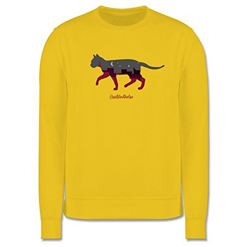 Katzen - Großstadtkatze - Herren Premium Pullover Gelb