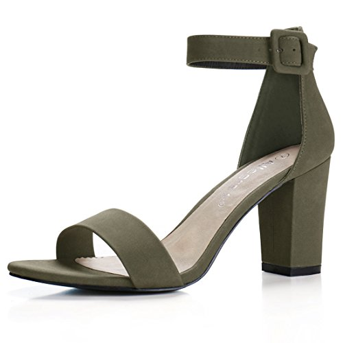 7.5 B(M)US (RUN BIG, 1/2 SIZE DOWN) , Khaki Green : Allegra K Women's Open Toe Chunky High Heel Ankle Strap Sandals