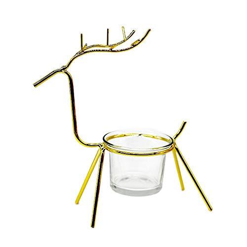 Hffan Eisenkunst Dekoration Rentier Kerzenständer Wohnaccessoires Tischdekoration(Glasbecher Nicht enthalten) Regal(Gold,13x7x17cm)