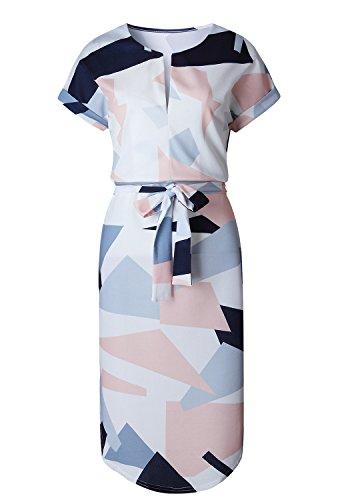 Hemkry Womens Midi Dresses Summer Casual V-Neck Floral Print Geometric Pattern Belted Dress