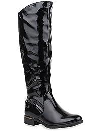 Damen Reiterstiefel | Cowboystiefel Leder-Optik | Gefütterte Stiefel Metallic | Blockabsatz Schuhe Schnallen | Lack Boots Fransen | Flandell®