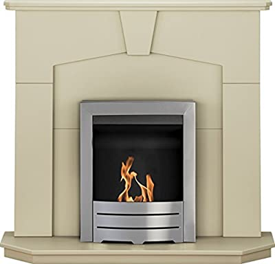Adam Abbey Fireplace Suite in Stone Effect with Colorado Bio Ethanol Fire in Brushed Steel, 48 Inch