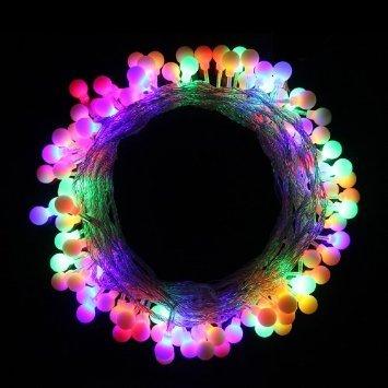 E-Plaza Illuminazione Catena LED Colore Cambiare Palla con 33 Piedi/10m Collegabile Corda Natale Natale Luci (Colore Multipla)