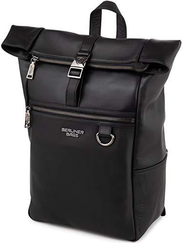 Berliner Bags Premium Rucksack Harlem aus echtes Vollnarbiges Leder 13 - 14 Zoll Laptopfach Kurierrucksack Fahrradrucksack Wasserdicht Damen Herren Schwarz Groß L