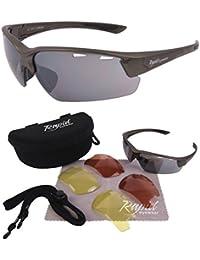 'Aurora' Silber Grau SONNENBRILLE FÜR PILOTEN (Fliegerbrille) und Sport mit Wechselgläser. UV schutz 400. Für Herren und Damen