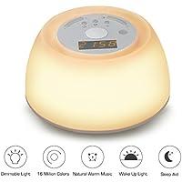 Lampe de Réveil,VADIV WL02 Eveil Lumière avec Lamp LED Simulation d'Aube avec Sons Naturels Lampe Luminothérapie d'Aide au Sommeil Relaxant Lampe de Chevet Rechargeable Fonction Snooze
