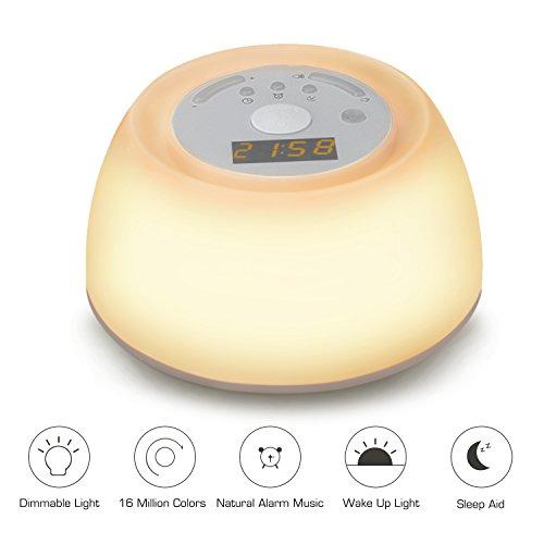 Luz de Noche Despertador Lámpara de Mesa VADIV con funciones de...