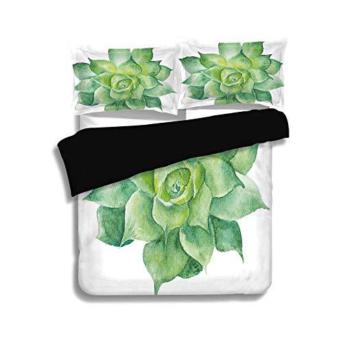LIS HOME Schwarzer Bettbezug-Set, saftige, grüne Tropische Pflanze handbemalte Agave Botanical Gardening Theme Image, Mandel grün gelb, dekorative 3-teilige Bettwäsche von 2 Pillow Shams, King Size - Trockner Mandel