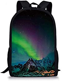 School Bags Northern Lights,Southern Iceland on Sky Over Rocky Hills Wild Night View,Lime Green Dark Blue Violet for Boys&Girls Mens…