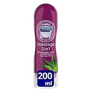 Durex Massage 2 in 1 Aloe Vera Gel Lubrificante Massaggio, 200 ml