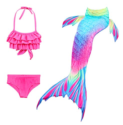 Auspicious Beginning Mädchen Mehrfarbig Gebatikt 3 Stück Meerjungfrau Prinzessin Cosplay Badeanzug