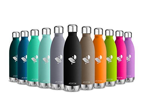 Aorin Vakuum-isolierte Trinkflasche aus Hochwertigem Edelstahl - 24 Std Kühlen & 12 Std Warmhalten . Pulverlackierung Kratzfestigkeit Leicht zu reinigen. (schwarz-750ml)