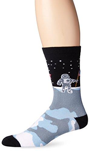 K. Bell Socks Men's On The Moon Crew Socks One Size (Fits Shoe Size 6-12.5 Us) Black