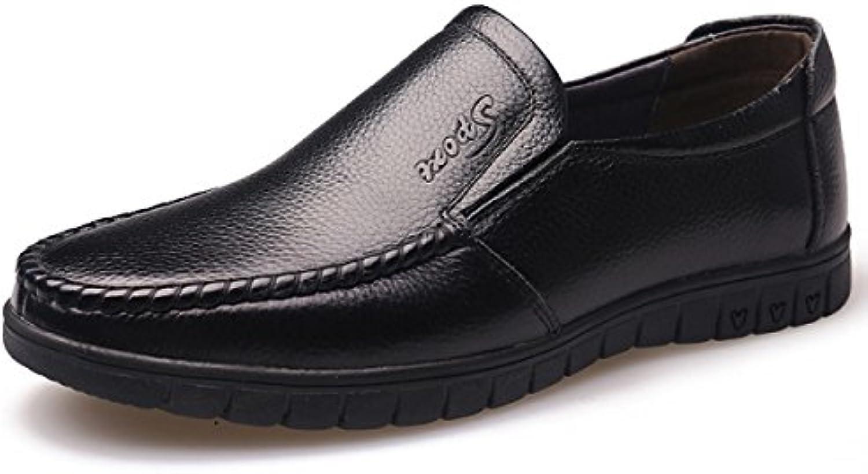 GRRONG Herren Leder Schuhe Mittelalter Freizeit Echtes Leder Schwarz