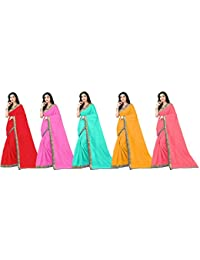 Florence Art Silk with Blouse Piece Saree (Pack of 5) (COMBO5-FL-12440_39_44_38_41_Multi_Os)