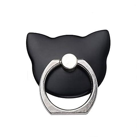 Phone Finger Ring Halterung meiteai Handy Cartoon Ring Grip 360Drehen Ring Stick Katze ainmal Form für iPhone 7Plus 66S, Samsung Galaxy S8S7Edge, Tablet etc. schwarz