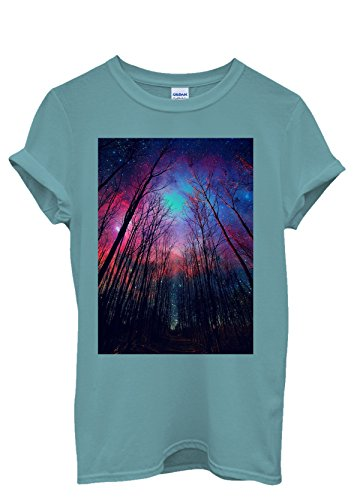 Galaxy Trees Nature Sky Cool Men Women Damen Herren Unisex Top T Shirt Licht Blau