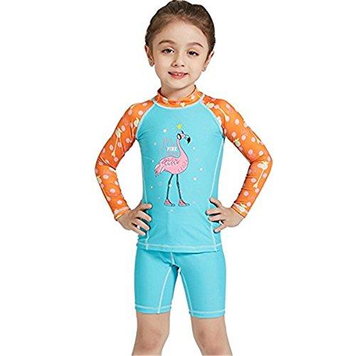 Baby Jungen Mädchen 2-teiliges Set Schwimmanzug UPF 50 Badeanzug Langarm mit UV-Schutz Tops + Badeshorts Set UV Schutz Badeanzug für Wassersports S