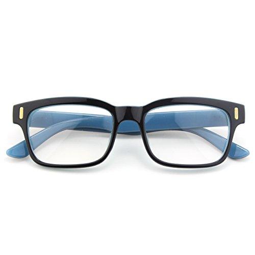 CGID CN12 Brille Extra Schmaler Rahmen! Slim Rechteck Nerd Clear Brille, B Schwarz Blau, 52 (Rahmen-brillen Blauer)