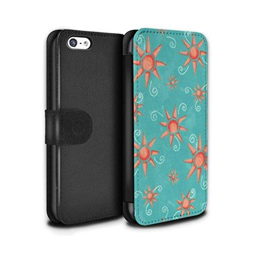 Stuff4 Coque/Etui/Housse Cuir PU Case/Cover pour Apple iPhone 5C / Noir/Blanc Design / Motif Soleil Collection Turquoise/Rouge