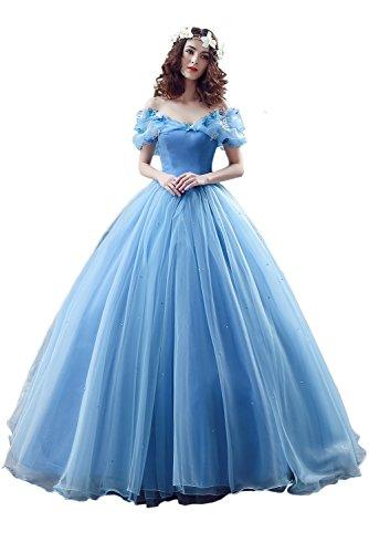 Victory Bridal Wunderschoen Blaues Kurzarm Abendleider Quincenera Ballkleider Lang Promkleider Cinderella -32 ()