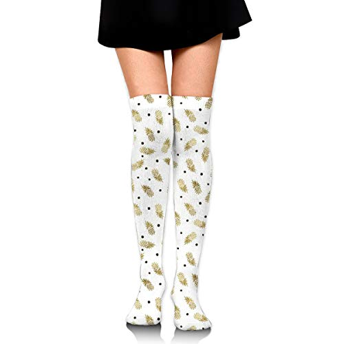 Gold Pineapples Dot Women's Over Knee Thigh Socks Girl High Stockings 65 Cm/25.6In -