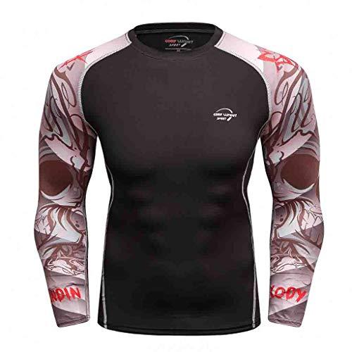 Herren Funktionsshirts Baselayer Longsleeve Kompressions-Shirt Langarmshirt Shirt Mit Rundhals-Ausschnitt -