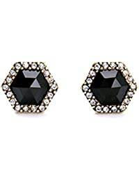 Young & Forever Mothers Day Gifts Paradiso Collection Luxury Black Stone Geometric Glee Pave Hexagon Stud Conversation...