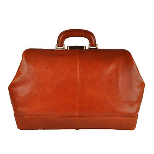 Pellevera Firenze sac de médecin de poche en cuir italien (rouge) tan brun