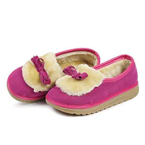 Longra Autunno e inverno donne gregge materiale superiore spessa suola di velluto più casual scarpe, Scarponi snow, stivali corti Rosa