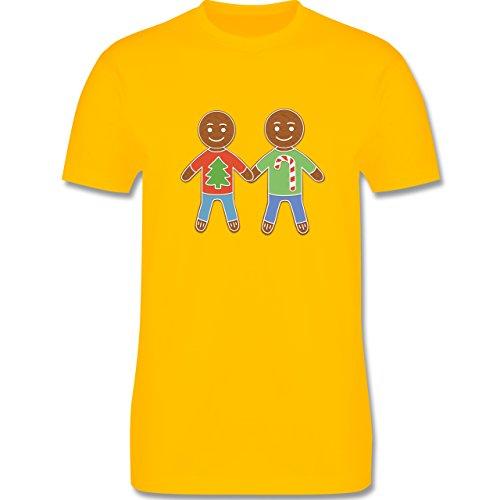 Weihnachten & Silvester - Lebkuchenmann und -mann - Herren Premium T-Shirt Gelb