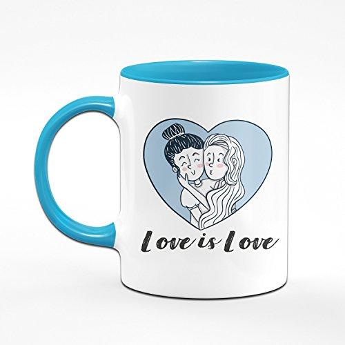 Tasse Love is Love - Pride Kaffeetasse - Liebe ist Liebe - Lesbische Geschenke - Lesbisch - Blau - 2