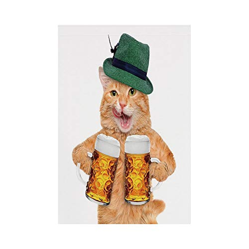 Polyester Garden Flag Outdoor Flag House Flag Banner,Cat,Cool Cat with Hat and Beer Mugs Bavarian German Drink Festival Tradition Funny Humorous Decorative,Multicolor,for Wedding Anniversary Home Outd
