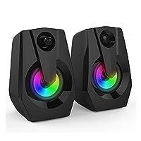 Mainstayae VXSM9015 Multimedia Bass Stereo Speaker Audio Player LED Colorful Light Double Speaker Mini Sound Blaster Audio TV Computer Speaker