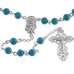 Idea Regalo - Turchese e argento Sterling rosario con ornato crocifisso