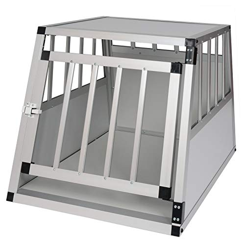 Elightry Gitterbox Aluminium Hundebox Autobox Hundetransportbox 1 Türig Hundetransportbox Weiß