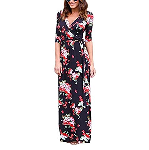 Keepwin Women's Boho Printed V-neck 3/4 Sleeve Wrap Waist Tie Party Long Maxi Dress (L, Black)