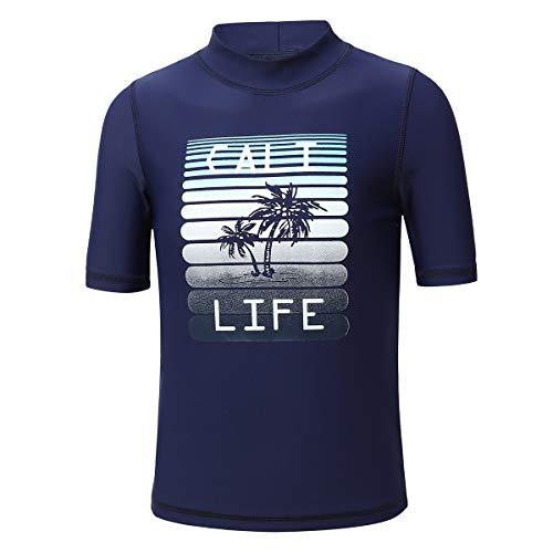PHIBEE Jungen Kurzarm Rash Guard Shirt UV-Schutz 50+ Sonnenschutz Bademode Drucken 14Jahre