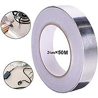 QitinDasen 50M X 20mm Premium Cinta Adhesiva de Aluminio, Cinta Lamina Aluminio, Cinta Reparación de Aluminio (Plateado)