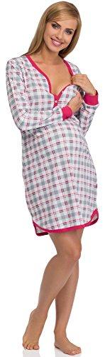 Cornette Chemise de Nuit d'Allaitement 654/03 Gris/Amarante
