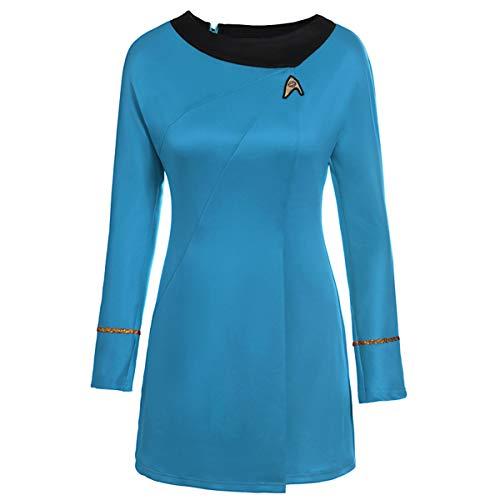 Dünne Star Trek - Langärmliges, Festes T-Shirt-Kleid mit O-Ausschnitt Sie sehr vorteilhaft (Color : Blue, Size : XL)