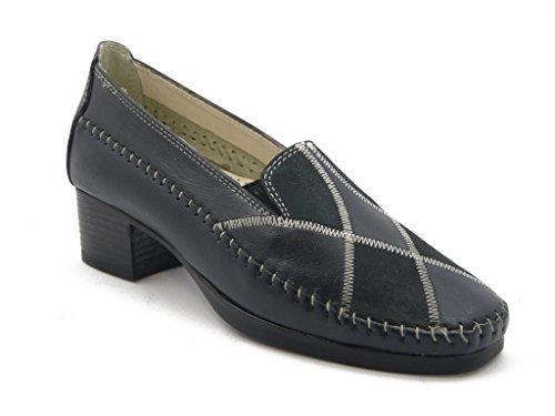 Mocassino Kelidon linea comfort, in pelle con tacco 4cm. e suola gomma flessibile e antiscivolo , Estivo-717