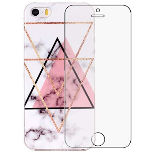 Yalixin iPhone 5 Marmor Hülle, iPhone 5S SE Handyhülle, 9H Härte Panzerglas Displayschutzfolie für iPhone 5 5S SE, Schutzfolie Schlank TPU Weich Silikon Cover Case (Dreieck)