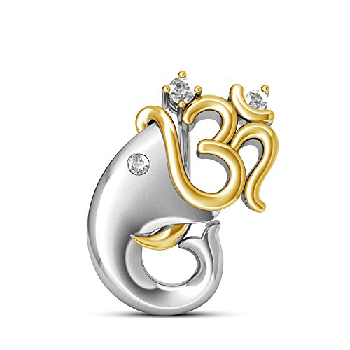 atjewels Maha Shivaratri Special 18k Two Tone Gold Over .925 Sterling Silver White CZ Om Ganpati Pendant