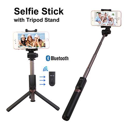 Moclever Bluetooth Selfie Stick Stativ, Selfie Stange Ausfahrbar Einbeinstativ 360° Rotation Selfiestick mit Bluetooth Fernauslöser für iPhone X/8/8 Plus/7/7 Plus, Samsung, Android Smartphones
