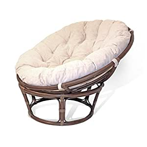 handmade rattan wicker round papasan chair with cushion