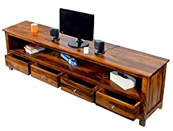 TimberTaste Sheesham Wood 1.96 Meter DOLLY 4 Draw TV Unit Cabinet Entertainment Stand (Natural teak Finish)