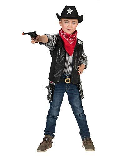 Kostüm Cowboyweste Ryder Kind Größe 116 / Cowboykostüm Kinder Kinderkostüm Wilder Westen Schwarz Karneval Fasching Pierro's