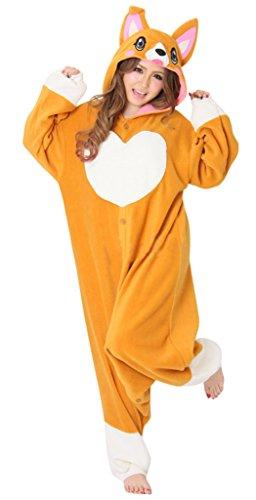 (Erwachsenen Tier Cosplay Kostüm Pyjamas,Pfirsich Hund,M)